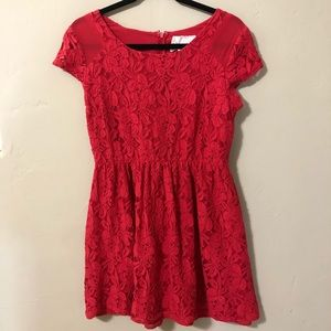 Coincidence and Chance M Red Floral Lace Dress